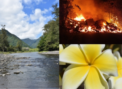 3 Pictures. Left; Waipio Valley and river. Top; Birth of Fissure 8, Bottom; Yellow and White Flower.